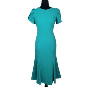 NEW Calvin Klein Teal Tulip Sleeve Sheath Dress 4